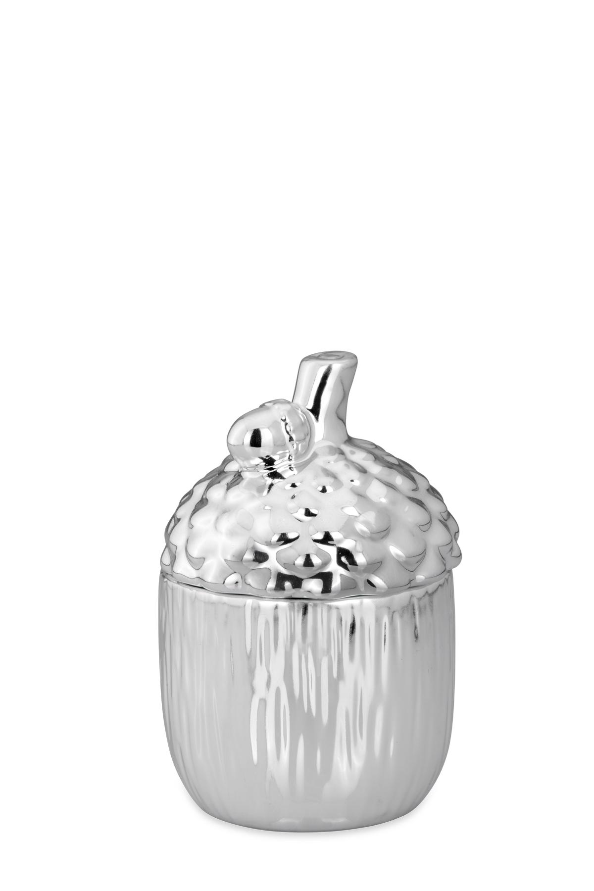 silberne Porzellan Dose mit Deckel Motiv Eichel 14 cm hoch